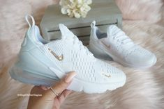 Swarovski Bling Nike Air Max 270 Shoes in Rose Gold Swarovski Crystals - Brand new in box, authentic blinged Nike Air 270 sneakers. The Nike logo (swoosh) is set with - Dr Shoes, Cute Nike Shoes, Cute Nikes, Nike Air Shoes, Hype Shoes, Me Too Shoes, Sneakers Nike, Nike Shoes Outfits, Shoes Sandals