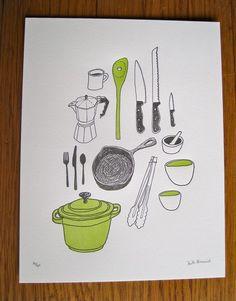 kitchen utensils (in letterpress form)