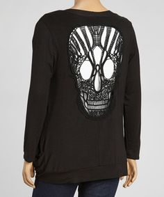 Love this Black Crochet Skull Cutout Open Cardigan - Plus on #zulily! #zulilyfinds
