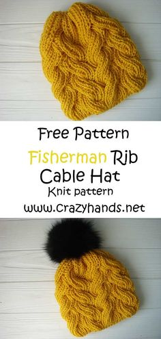 Fisherman's Rib Cable Knit Hat Free knitting pattern: Fisherman's Rib Cable Hat I Knitting Stitches, Hand Knitting, Loom Knitting, Poncho Style, Fishermans Rib, Knitted Hats, Crochet Hats, Cable Knit Hat, Scarf Knit