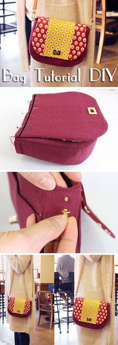 Picture Tutorial for making a cute bag. How to make bag. Сумочка из ткани с ремешком. Фото-инструкция по шитью. http://www.handmadiya.com/2015/09/bag-with-strap-tutorial.html #diybag
