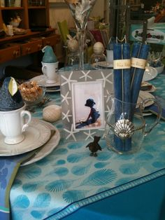 Beach theme on a beautiful french tablecloth