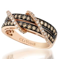 Le Vian 14K Strawberry Gold .87 Carat Chocolate and Vanilla Diamond Ring