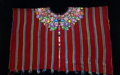 Stunning Maya Woman's Vintage Red Floral Huipil Poncho from Patzun, Guatemala #Poncho
