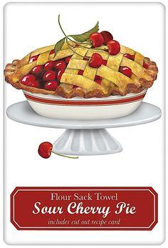 American Cherry Pie 100% Cotton Flour Sack Dish Towel Tea Towel