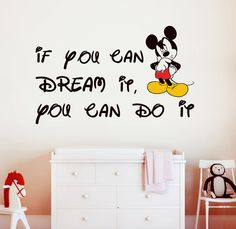 "Children Wall Decal Quote Text Kids Murals ""Mickey Mouse""  22.8'' x 36.8"". $58.00, via Etsy."