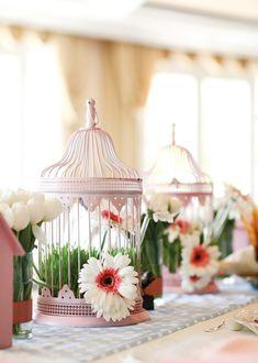 Bird Cage centerpieces with gerbera daisies
