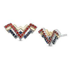 Wonder Woman Collection Garnet & Blue Sapphire Symbol Stud Earrings For Gifts | eBay