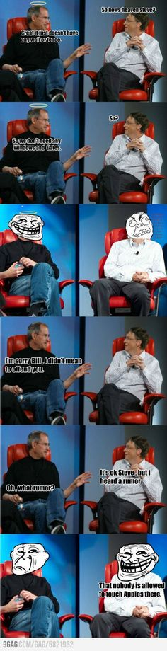 Made me smile.. Steve Jobs and Bill Gates at it again.