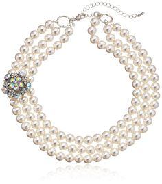 Simulated Pearl and Glass Three-Row Necklace, 17'   3' Extender -- Details can be found by clicking on the image. (This is an affiliate link and I receive a commission for the sales)