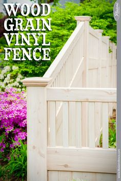 Shown: Eastern White Cedar PVC vinyl wood grain from #illusionsfence. This is the very popular V3701 style of fence which is tongue and groove boards with a framed topper. The look of real wood fence with the low maintenance of vinyl fence.