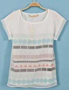 White Short Sleeve Geometric Print Mesh Yoke T-Shirtj. Want