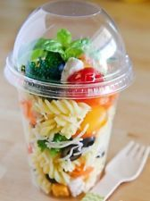 Pack of 100 Plastic CLEAR 16 oz Cup with no-hole DOME Lid / Parfait Cup