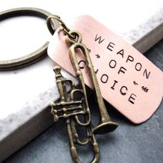 TROMBONE Weapon of Choice Stamped Keychain, alt charms available, gift for the… Marching Band Mom, Marching Band Problems, Flute Problems, Band Rooms, Trumpet Players, Band Nerd, Brass Band, Bae, Saxophone