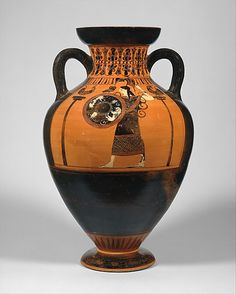 Terracotta neck-amphora of Panathenaic shape  Attributed to the Princeton Painter   Period: Archaic Date: ca. 540–530 B.C. Culture: Greek, Attic Medium: Terracotta Dimensions: H. 15 5/16 in. (38.9 cm) diameter 10 5/8 in. (27 cm) Classification: Vases Credit Line: Gift of Norbert Schimmel Trust, 1989 Accession Number: 1989.281.89