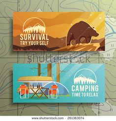 Flat vector camping  banners on the subject of wilderness survival, camping, travel, etc.. Quality design illustrations, elements and concept. Flat design.