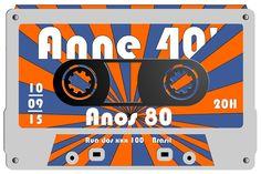 Convite para festa com o tema dos anos 80. www.heradigital.com.br