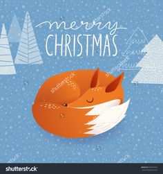 Trendy Christmas vector card with cartoon cute sleeping fox