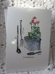Garden Tools Watercolor Card by gardenblooms on Etsy, $3.50