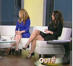 Andrea Tantaros on Outnumbered sexy crossed legs in a little black dress and sexy strappy high heels.
