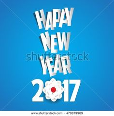 Happy new year 2017 blossom background