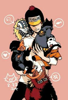Penguin, Shachi, Kid, Killer, Bepo, Law, cute, funny, cats, neko, text; One Piece