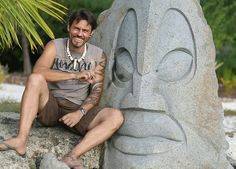 #artist #TevaVICTOR with his triptic #basalt volcanic rock #monumental sculpture, on his island in the #Bora Bora lagoon (#French Polynesia).