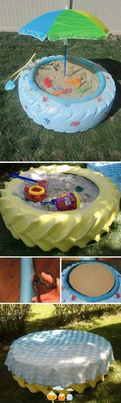 recycled tire sandbox--Branson for Xmas? Kids Outdoor Play, Outdoor Fun, Outdoor Activities, Activities For Kids, Tyres Recycle, Recycled Tires, Upcycle, Old Tires, Play Houses