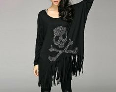 Fashion Black Skull Top /Black Punk Loose Fit Plus Size Clothes/Skull Plus Size Tshirt Clothing For Women
