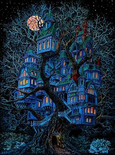 """Ultimate Tree House from an Oil Painting by Marcus Barnard . Large painting taking 5 months to finish. Art And Illustration, Fantasy Kunst, Fantasy Art, Fantasy House, Fantasy Landscape, Black Light Posters, Psy Art, Fantasy World, Fantasy Places"