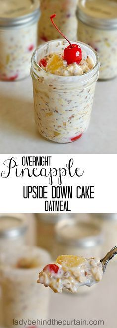 Overnight Pineapple Upside Down Cake Oatmeal easy grab and go breakfast healthy snack mason jar recipe Grab And Go Breakfast, Best Breakfast, Breakfast Recipes, Breakfast Healthy, Breakfast Ideas, Breakfast Smoothies, Healthy Brunch, Breakfast Cake, Protein Smoothies