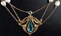Aquamarine art nouveau necklace