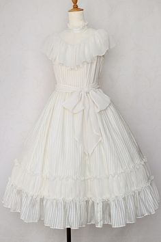 Sheer check frilly long dress