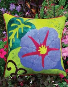 ***WoolyLady.com Glorious Morning Wool Applique Throw Pillow