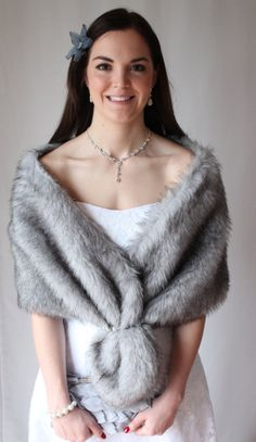 Grey Chinchilla Faux Fox Wedding Stole by TionDesign on Etsy, $59.99