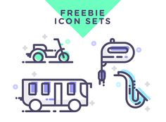Free-Instruments,-Transportation-&-Kitchen-Tools-Icons-Set-1
