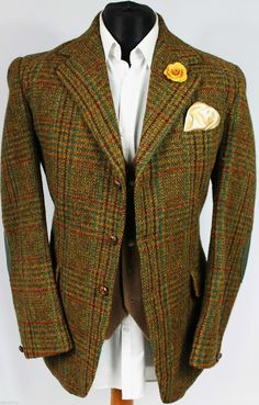 Mens Vintage Harris Tweed Brown Windowpane Country Blazer Jacket 40R AMAZING in Clothes, Shoes & Accessories, Men's Clothing, Coats & Jackets | eBay