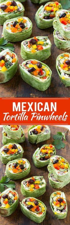 This recipe for Mexican tortilla pinwheels is two types of cheese, black beans a. - This recipe for Mexican tortilla pinwheels is two types of cheese, black beans and colorful veggies - Mexican Food Recipes, Vegetarian Recipes, Cooking Recipes, Vegetarian Mexican, Keto Recipes, Mexican Food Buffet, Mexican Finger Foods, Finger Food Appetizers, Appetizers For Party
