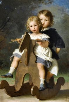 """Theophile and Berthold van Muyden on a Rocking Horse"" -- Alfred van Muyden (1818 – 1898, Swiss)"