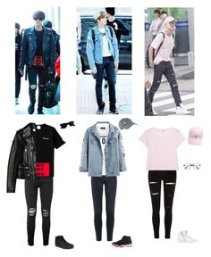 """Jin's outfits"" by mochichimchim ❤ liked on Polyvore featuring J Brand, Dsquared2, NIKE, River Island, RE/DONE, Just Cavalli, AMIRI, Yves Saint Laurent, Vans and Ray-Ban"