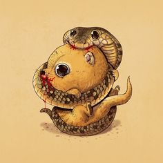 Alex Solis creates an ongoing series of disturbing illustrations in Predator vs. Prey where apathetic preys display none-the-wiser smiles as their bodies are Cute Animal Illustration, Cute Animal Drawings, Cartoon Drawings, Illustration Art, Art Illustrations, Predator, Prints Whatsapp, Alex Solis, Lapin Art