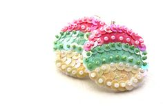 "Colorful Earrings pastel pinkgreencream Sequin by velanch on Etsy, $25.00  THIS LOVELY ITEM HAS BEEN SELECTED TO BE PART OF THE ""LOVE ATTACK DAY"" PROMOTED BY ETSYITALIATEAM"