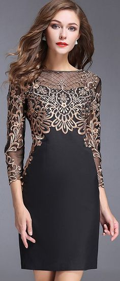 Chic O-Neck Long Sleeve Lace Embroidery Bodycon Dress #bodycondresslongsleeve