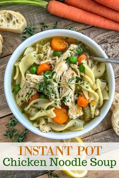 Instant Pot Chicken Noodle Soup - oh so comforting soup that is very easy to make, comes together in the Instant Pot and has a ton of flavor! This is the perfect healthy meal for a cold winter day. Loaded with tender chicken, vegetables, and noodles! Soup Recipes, Dinner Recipes, Healthy Recipes, Dinner Ideas, Simple Recipes, Healthy Drinks, Cooker Recipes, Healthy Meals, Healthy Food