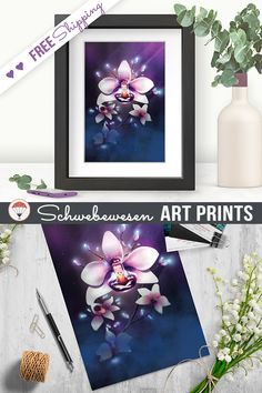 Orchid Art Print Chakra Poster Spiritual Wall Art Yoga Studio Decor Zen Artwork Strong Woman Meditation Art Flower Home Decor Hibiscus Print tropical flower motivational art Floral Gift burgundy home decor