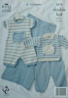 K3318 Babies Striped Romper Suit Set and Blanket Knitting Pattern DK (Light Worsted) King Cole