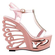 f080eff311d SHOW STORY Baby Pink T Strap Bride Wedding Wedge Butterfly Heel Sandals  Shoes