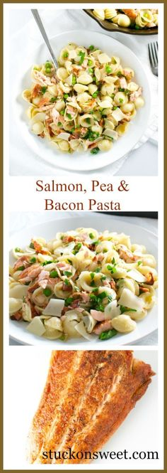 Salmon, Pea and Bacon Pasta | stuckonsweet.com. Ready in just 30 minutes!