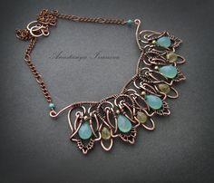 necklace with chalcedony by nastya-iv83.deviantart.com on @DeviantArt
