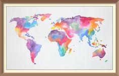 Original Handmade Watercolor World Map van JCArtDesigns op Etsy
